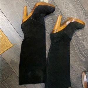 Michael Kors platform wooden heel knee boots sz8M